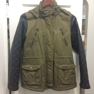 Zara girls casual collection quilted army jacket